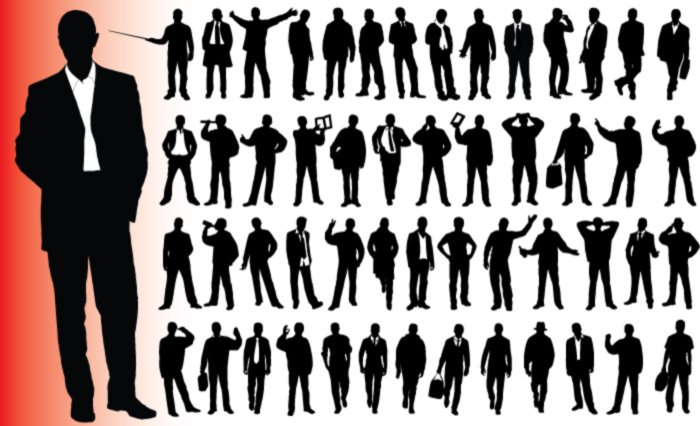 free vector Business People silhouette Vector tortillas and statistical material